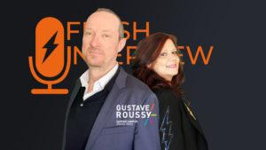 Professeur Eric Deutsch, chef du département de Radiothérapie de Gustave Roussy avec Emmanuelle Leneuf, fondatrice du FlashTweet
